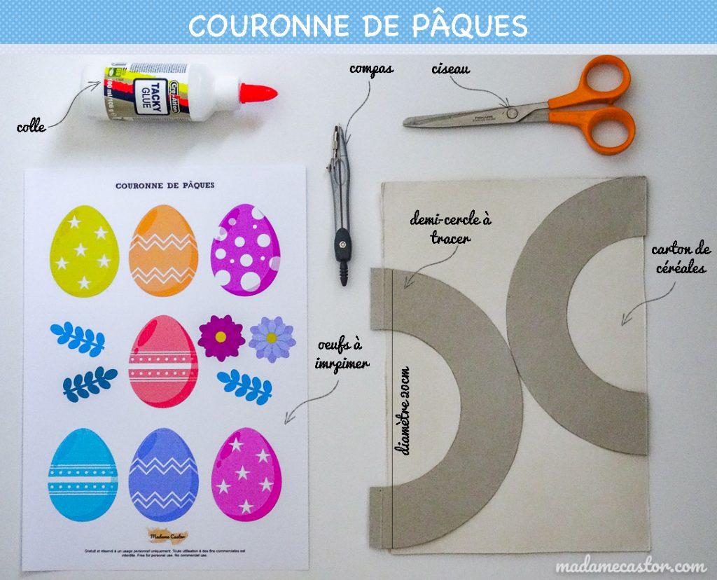 Matériel pour réaliser une couronne de Pâques facile avec fichiers à imprimer