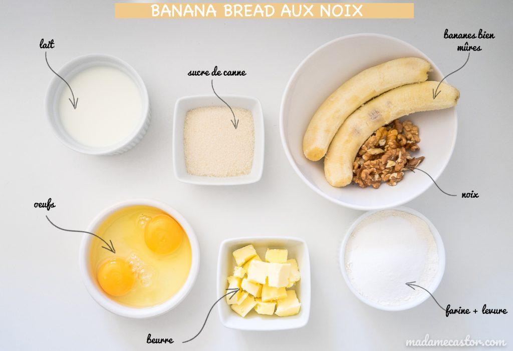 ingrédients banana bread noix light